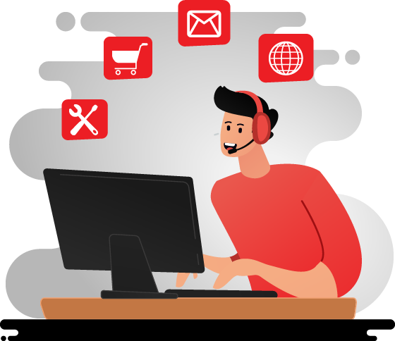 Cartoon of IT Support Person at Computer