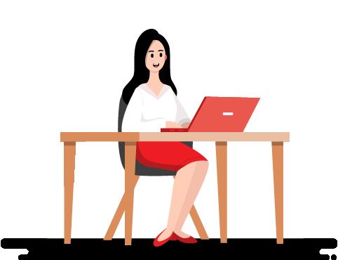 Cartoon - Woman Using Laptop