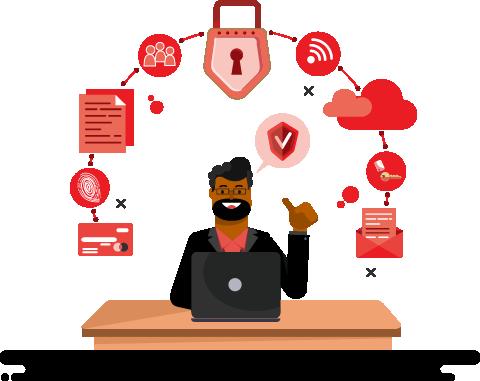 Cartoon - Cyber Security Man Using Computer