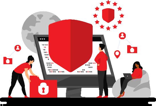 Cartoon - People Protecting Data