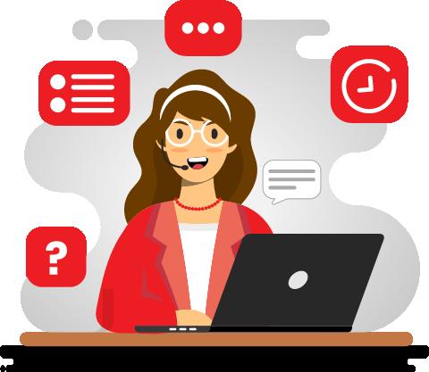 Cartoon of Woman using Laptop