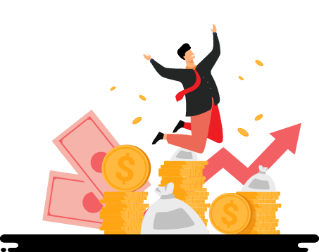 Cartoon of Person Jumping Above Money