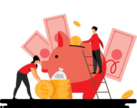Cartoon of People Putting Money into Piggy Bank