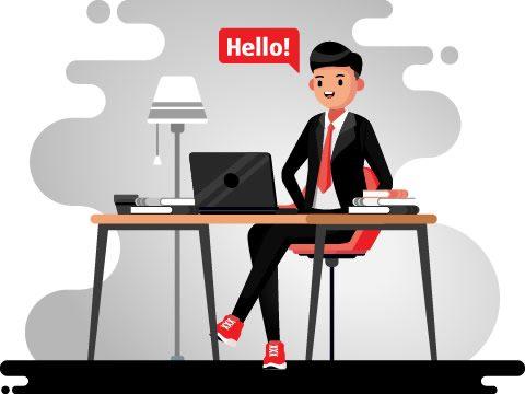 Cartoon - Man Sitting At Desk