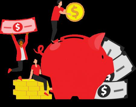 Cartoon - People Putting Money into Piggy Bank